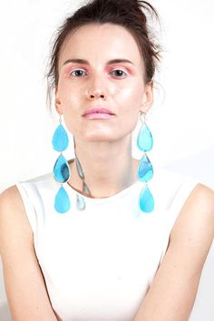 Triple Drop Earrings, Large Acrylic Raindrop Earrings, Aqua Blue Laser Cut Drops, Huge Transparent Resin Earrings, Clear Teardrop Dangles