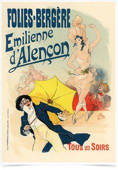 Poster The Belle Epoque Folies Bergere impresso com tecnologia HighHD de alta definição em papel semi-glossy especial com gramatura 250g no tamanho A3 (42x29cm) com cores vibrantes.