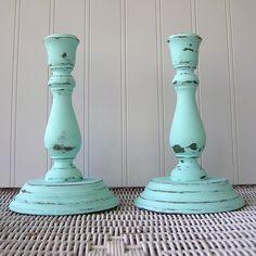 Vintage wood candlesticks