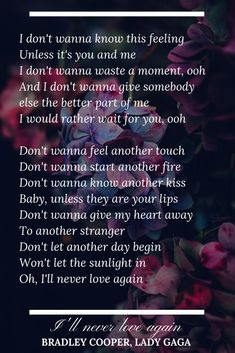 I'll never love again bradley cooper lady gaga a star is born lyrics love song quotes Love Again Quotes, Love Song Quotes, Love Songs Lyrics, Song Lyric Quotes, New Quotes, Music Quotes, Lady Gaga Lyrics, Lady Gaga Quotes, Never Love Again