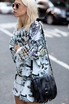 round sunglasses, graphic prints & Proenza Schouler fringe bag #style #fashion #alwaysjudging