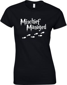 Mischief Managed, Ladies Printed T-Shirt - Black/White S = 2-4