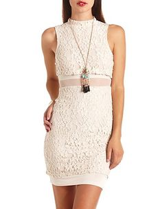 Mock Neck Mesh-Lined Lace Bodycon Dress: Charlotte Russe