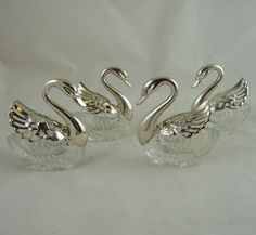 Set of Four Silver Plate and Glass Swan Salt Cellars