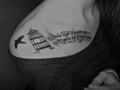 Bird and Word Tattoo on Right Collar Bone - Cool Collar Bone Tattoos, http://hative.com/cool-collar-bone-tattoos/,