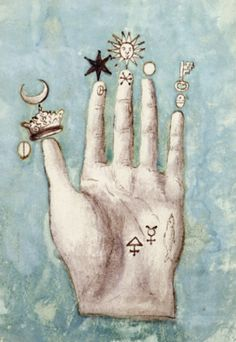 alchemy The Monad Glyph in the middle palm (crescent head stickman) represents John Dee - 14TH Century Alchemist and thought to be the depository of all known matter in the universe at the time...