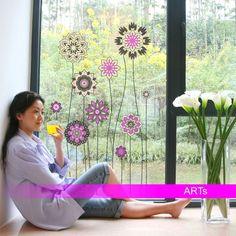 (007fp) Nálepka na okno - Kvety vysoké   ARTSABLONY.SK