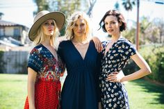 From left to right: The Kelly Dress in Hippie Crepe, The Carmen Maxi Dress in Navy Crepe, and The V Largo in Navy Floral Crepe