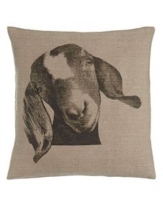"""Billy"" Goat Pillow, 22""Sq."