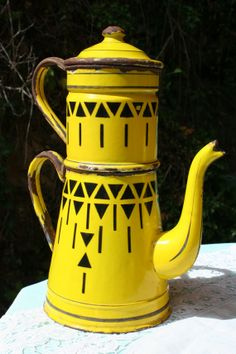French Vintage Patterned Yellow Coffee Pot by FromParisToProvence