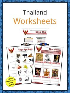 This is a fantastic bundle which includes everything you need to know about the Thailand across 27 in-depth pages. These are ready-to-use Thailand worksheets that are perfect for teaching students about the Thailand which is found in Southeast Asia. A tropical country, it has diverse ecosystems, including forested areas, fertile rice fields, plateaus, and coasts along the narrow southern peninsula. Geography Worksheets, Social Studies Worksheets, Geography Lessons, Economy Of Thailand, Culture Of Thailand, Tropical Rainforest Climate, Thai Symbols, National Animal, Head Of State