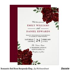 Romantic Red Rose Burgundy Elegant Wedding Invitation Wedding Planning Tips, Wedding Tips, Summer Wedding, Spring Weddings, Autumn Weddings, Wedding Fun, Wedding Planner, Destination Wedding, Burgundy Wedding Invitations