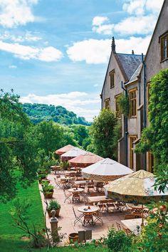 Fabric umbrellas on teh terrace at The Pig hotel, Devon (Condé Nast Traveller) Beautiful Hotels, Beautiful Places To Visit, Great Places, Places To Go, Amazing Hotels, Wonderful Places, Devon England, Cornwall England, Oxford England