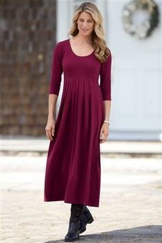 Shop Chadwicks of Boston for our Scoopneck Long Knit Dress. Browse our online catalog for more classic clothing, shoes & accessories to finish your look. Petite Dresses, Modest Dresses, Casual Dresses, Choir Dresses, Knit Dress, Dress Skirt, Modest Fashion, Fashion Outfits, Everyday Dresses