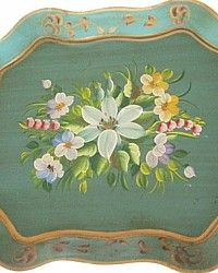 Vintage Rare Day Lillies Hand Painted Green Floral Tole Tray