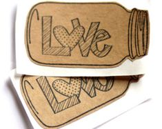 Mason Jar Stickers | LOVE Stickers For the Rustic Wedding or Event | Set of 10 Stickers