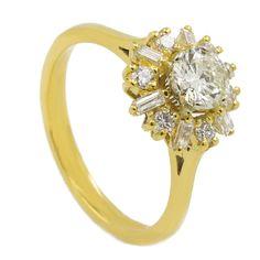 Vintage Diamond Ring Real 18k Yellow Gold Round Cut Wedding 1.10 Carat I/ VS1 #MyDiamonds #Cocktail #Engagement