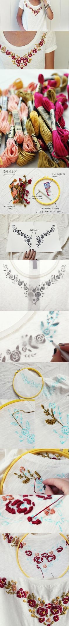 Floral Embroidered Top DIY DIY: Hand Embroidered T-shirt Different colours definetly Hand Embroidery Designs, Ribbon Embroidery, Embroidery Art, Cross Stitch Embroidery, Embroidery Patterns, Machine Embroidery, Sewing Patterns, Broderie Simple, T-shirt Broderie