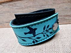 Leather Cuff Wrap Bracelet, Bird on a Wire Print in Black & Turquoise