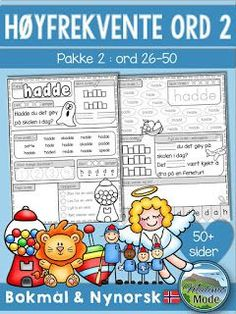 Mengdetrening med høyfrekvente ord 2 Danish Language, Pre Primer Sight Words, Sight Word Practice, Writing Skills, Learning Resources, Lesson Plans, Teaching, Education, Montessori