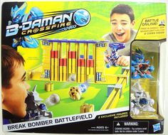 B-Daman Crossfire Break Bomber Battlefield Set(Discontinued by manufacturer). Break Bomber Battlefield includes all the gear you need to battle B-Daman style. Blast targets with Thunder Dracyan's power shot. Launch at light-speed with Lighting Dravise's rapid fire. Less loading, more launching with the 2 Wide Magazine accessories. Set includes 25 blocks, 2 B-Daman figures, 2 Wide Magazine accessories, 1 customization tool, 16 B-Da Marbles, 4 Ultra B-Da Marbles, 2 collector cards.