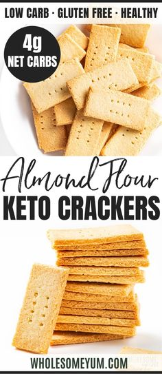 Weight Loss Plans Long Term Keto Paleo Low Carb Crackers Recipe with Almond Flour - 3 Ingredients.Weight Loss Plans Long Term Keto Paleo Low Carb Crackers Recipe with Almond Flour - 3 Ingredients Keto Crackers Recipe, Low Carb Crackers, Low Carb Desserts, Low Carb Recipes, Paleo Recipes, Keto Snacks, Snack Recipes, Breakfast Recipes, Smoothie Recipes