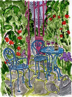 Fifi Flowers: Blue Chairs in Paris