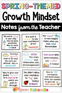 Growth Mindset Notes from the Teacher Teacher End Of Year, Growth Mindset Activities, Teacher Notes, Positive Reinforcement, School Notes, Behavior Management, Fourth Grade, Third Grade, Teaching Resources