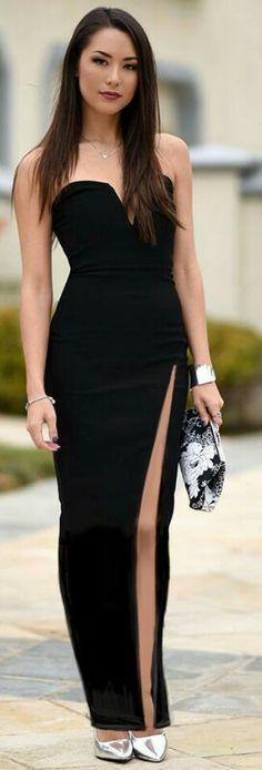 Long black thigh slit dress