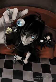 Cool/scary anime boy with black hair and blue eyes.