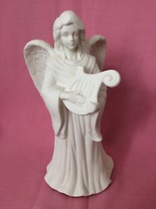 """Partylite Porcelain Bisque Angel Playing Harp Candle Holder 10"""" Inches High    eBay Harp, Tea Light Holder, Tea Lights, Candle Holders, Angels, Porcelain, Sculpture, Statue, Ebay"""