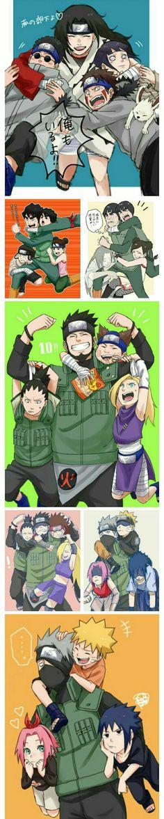 Team 8, Kurenai, Kiba, Akamaru, Shino, Hinata, Team 10, Asuma, Shikamaru, Choji, Ino, Team Guy, Neji, Rock Lee, Tenten, Team 7, Naruto, Sasuke, Sakura, Kakashi, text, funny, comic, different agea, childhood, young, timelapse; Naruto