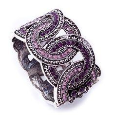 Purple bracelet... Arinna Joyas Europeas De Lujo Retro Brazalete De Diamantes De La Felicidad Completa De Los Anillos Dos Opciones De Color 17.66 USD