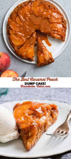 Dump and Bake!  This buttery moist Peach Dump cake gets topped with rich decadent caramel sauce and ripe peaches creating the best and easiest summer dessert. #peach #dumpcake #caramel #peachcake #cakemix Dump Cake Recipes, Cheesecake Recipes, Baking Recipes, Cookie Recipes, Dessert Recipes, Veggie Recipes, Sweet Recipes, Best Comfort Food, Comfort Foods