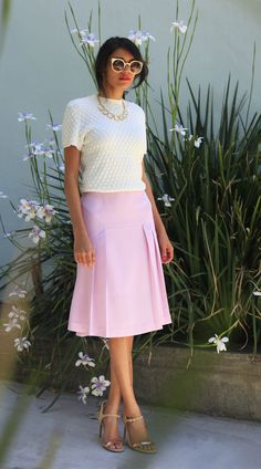 pink midi skirt #ladylike #thinkpink