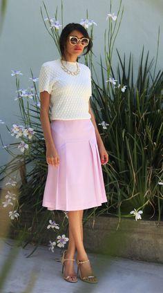 pink midi skirt #ladylike #thinkpink