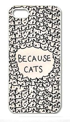"Because Cats Animal Cat Cartoon Retro Vintage Funny Patterned Hard Back Case Cover Skin For Apple iPhone "" FREE SHIPPING """
