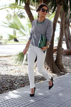 white jeans - grey sweater - statement necklace - black pumps