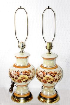 Vintage Pair Mid Century Iridescent Glass Lamps, Beautiful, Excellent