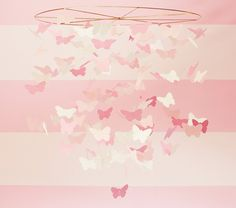 Pink Paper Butterfly Mobile   Pottery Barn Kids