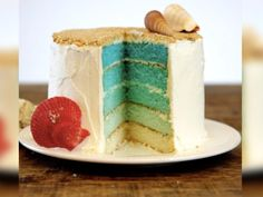 We're shore you'll love this beachy mermaid ombré cake