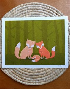 three foxes kids art. woodland animals in orange and by lulufroot, $20.00