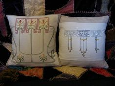 Arts & Crafts Design Embroidered Pillows by nzaloo, via Flickr