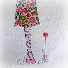 "fairford unframed original stitched drawing by LiliPopo on Etsy, £7.00She is lovingly hand drawn using ink, watercolour and pencils. Then her dress is appliqued and finally I add a little bit of stitch all on a lovely A6 piece of recycled cotton rag paper.  The paper is A6 (6"" x 4"") and she would sit nicely in a post card frame"