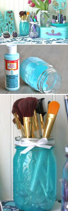 Tinted Mason Jars | Click Pic for 17 DIY Makeup Storage and Organization Ideas | Easy Organization Ideas for Bedrooms