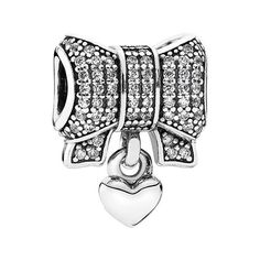PANDORA Bow & Heart Dangle Charm ($85) ❤ liked on Polyvore featuring jewelry, pendants, bow bangle bracelet, bracelet charms, heart charms, heart charm bracelet and dangle charms
