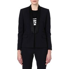 MAJE Ernest satin collar jacket (Marine fonce  Dressy jacket for work. Dress down with black jeans. Would also look great with white or blue jeans. This is a brilliant investment. Will give skinny arms and will go over any top or dress.