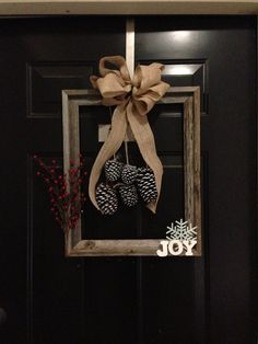 Rustic Christmas Wreath Made From Barn Wood Frame - Holiday Wreath - Winter Wreath
