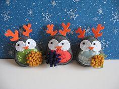 felt owl as reindeer ornament :)