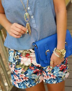 Floral tropical shorts, chambray & Kendra Scott Rayne necklace. Summer outfit idea.